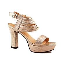 3aeb3bf59 Patent Skin Block Heeled Platform Sandals - Champaigne
