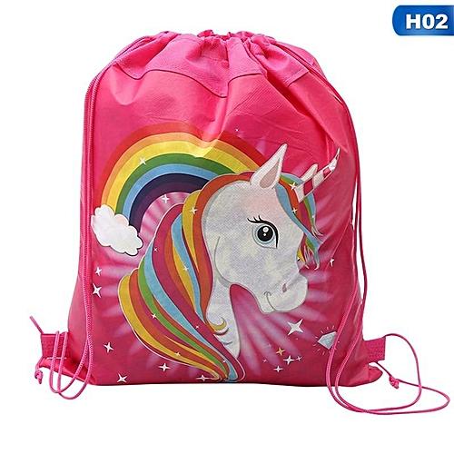 Benhongszy Hot Sale Unicorn Bag Fabric Backpack Child Travel School Bag Decoration Drawstring Gift Bag For Women Drop Shipping