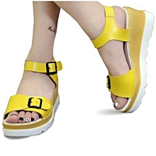 149c44abd95d Female Leather Wedge Yellow
