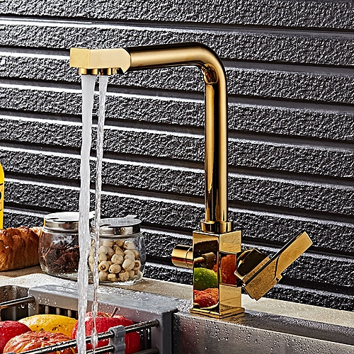 Brass Swivel Drinking Hot & Cold Water Faucet 3 Way Water Filter Purifier Golden Kitchen Faucets