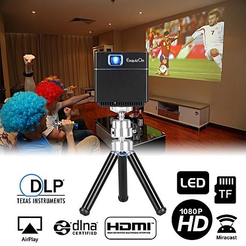 Exquizon Mini Cube DLP Pocket Projector S6 1080P - Black