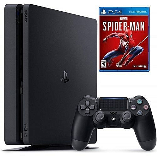 Slim PS4 Console 1 Terabyte + PS4 SpiderMan CD And Free Bag