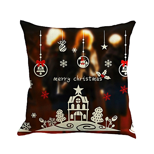 Fashion Happy Christmas 45cmX45cm Pillow Cases Happy Fall Yall Linen Sofa Cushion Cover