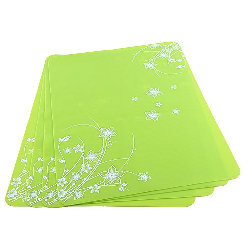 4pcs Silicone Kitchen Placemats Non-slip Insulation Baking Mats Tables Coasters Green