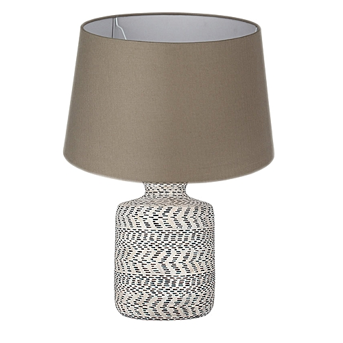 Textured Natural And Black Stoneware Table Lamp