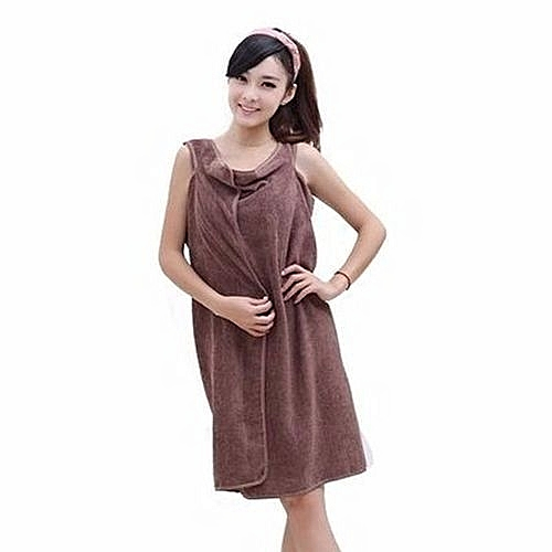 Female Bath Robe / Body Wrap Towel - Brown