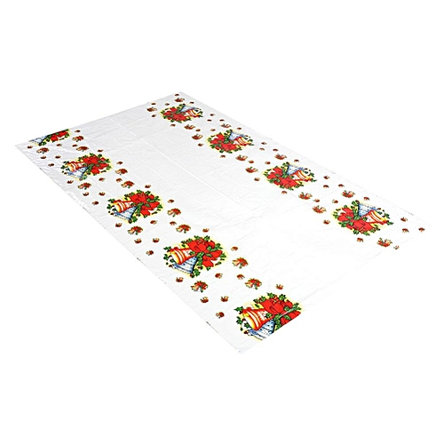 Minxin Christmas PVC Disposable Tablecloth Xmas Kitchen Table Protector Bells