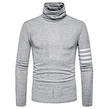 c015922e5 Turtle Neck Stripe Braid Embellished Knitted Sweater