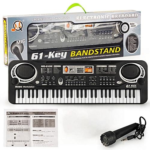 allwin 61 key kids electronic digital keyboard electric organ with random microphone black and. Black Bedroom Furniture Sets. Home Design Ideas