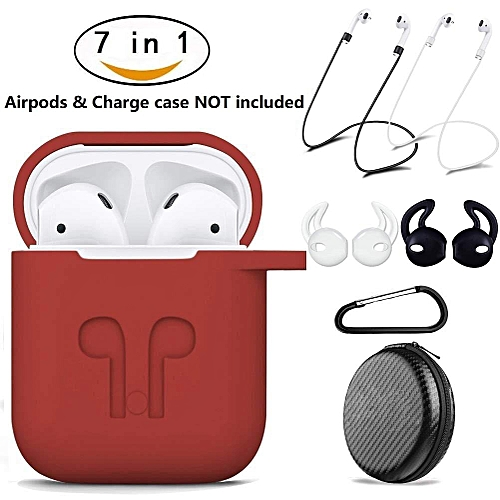 【7 In 1】AirPods Case Cover,Q-shop AirPods Accessories Silicone Airpods Protective Cover Set With [Keychain] [Airpods Strap] [Airpods Earhooks] [Travel Carrying Box Case] For Apple Airpod Charging Case (Red) CHSMALL