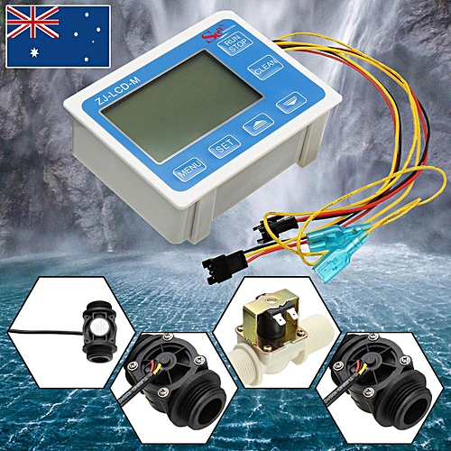 G3/4''Water Flow Sensor Meter+Digital LCD Display Control+Solenoid Valve Control