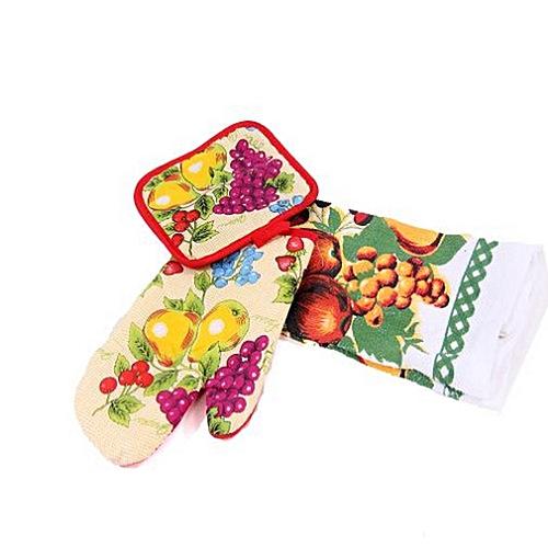 Kitchen Towel, Glove & Pot Holder Set