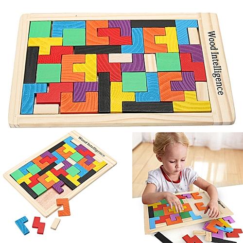 Wooden Tangram Brain Teaser 3D Puzzle Toy Tetris Preschool Magination Intellectual Educational Kids Toy Colorful Jisgaw Board
