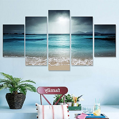 5Pcs Sun Seaside Art Canvas Painting Picture Print Home Wall Decor Decorative Framed