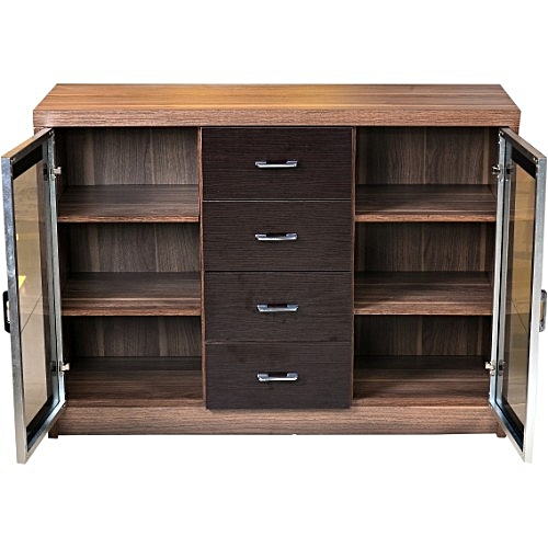 Home Furniture Wood And Dark Glass Wine Cabinet