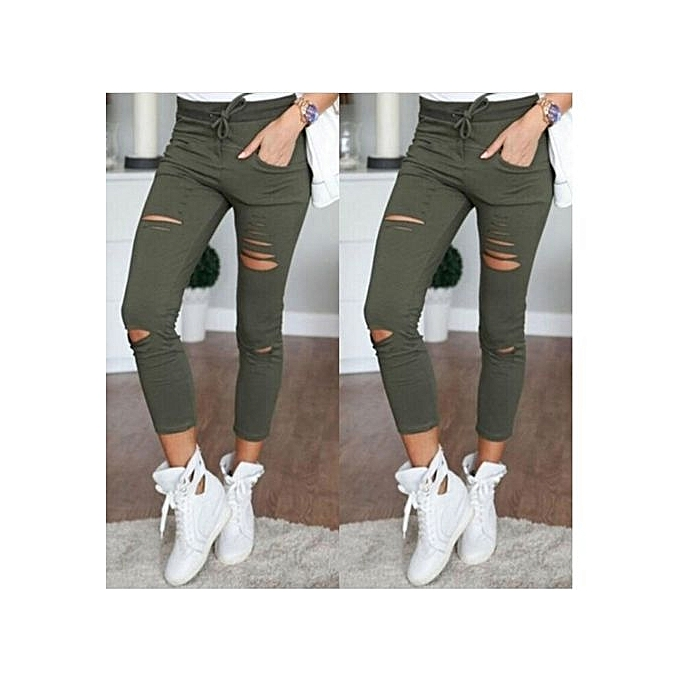 3548591c1bf Comfortable Fashion Womens Stretch Ripped Jeans Ladies Slim Fit Skinny  Jeans Trousers Casual Hole Pants Leggings