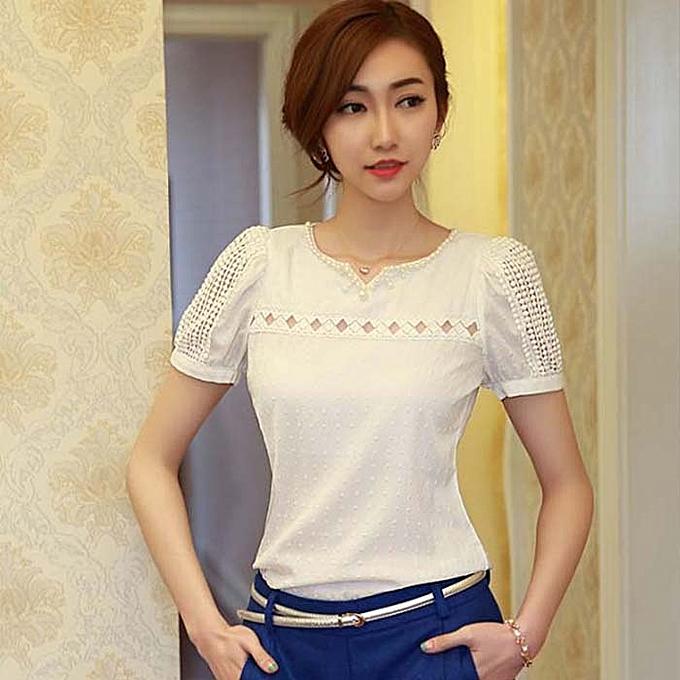 fc16c45e57f82d Dtrestocy Ladies Women Lace Short Sleeve Shirt V Neck Doll Chiffon Blouse  Tops S