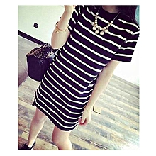 3a3381e675308 Women  039 s Crew Neck Short Sleeve Striped Loose T-Shirt Mini Dress
