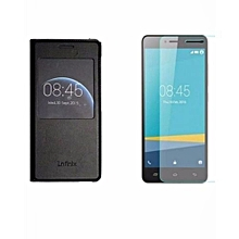 Infinix HOT 4 Leather Case-Black+Tempered Glass(X557)