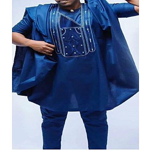 Full Agbada Wear Blue Long Sleeve