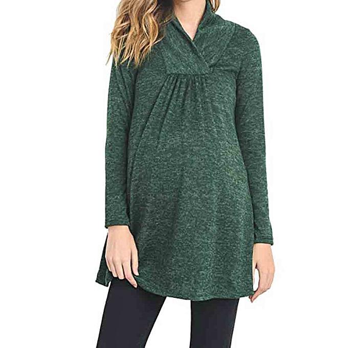 2768dd18b5458 Generic Women's Loose Maternity Clothes Pregnant Shirts Casual Long Sleeve  V Neck Blouse Fovibery | Jumia NG