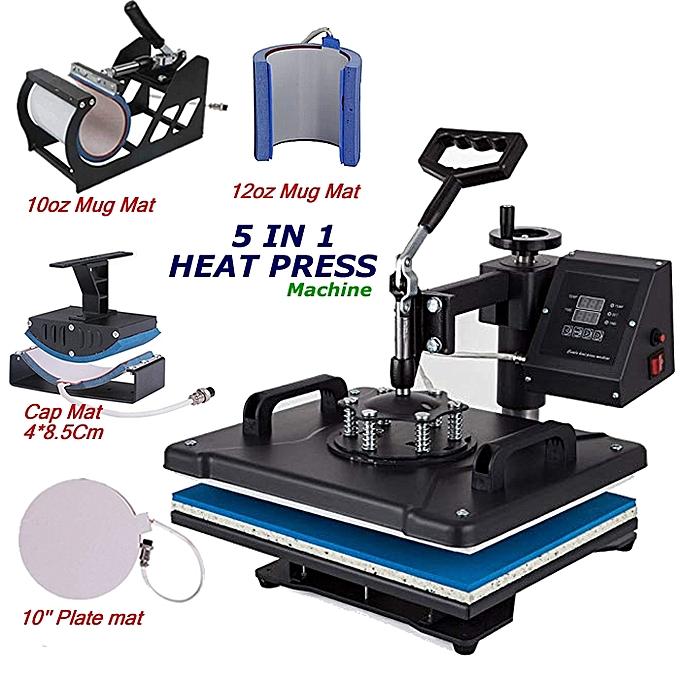 5 In 1 Digital Heat Press - Transfer Machine For T-Shirt/Mug/Cap/Hat/Plate
