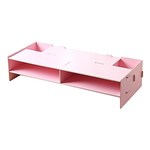 Multifunction Wooden Desktop Monitor Riser Computer Holder - Pink