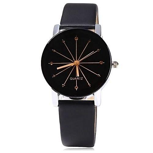 New Exotic Rhinestone Leather Wrist Watch For Ladies - Black