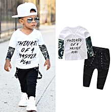 Baby Outfit Newborn Infant Baby Boy Letter Tattoo T Shirt Tops Pants Outfits Clothes Set-
