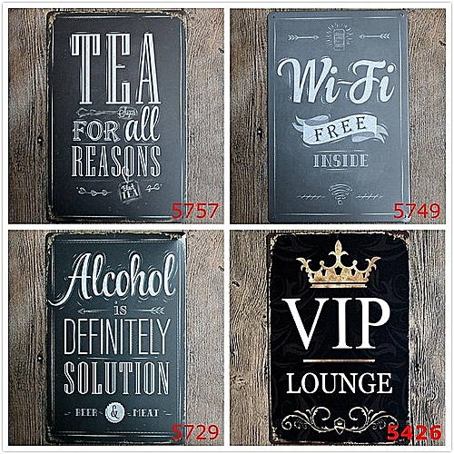 5PCS Bar Cafe Wall Decor Tail Beer Metal Poster Tin Sign Wall Hanging Home Decor Rice White
