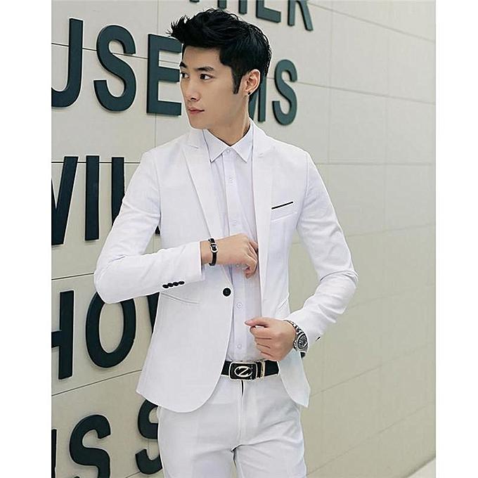 06de07c098f White Korean Style Men Suit Coat Slim Suit Men's Jacket Solid Color Casual  Men's Clothing Work