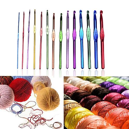 Generic Equivalentt 14pcs Aluminum Handle Knitting Crochet Hook
