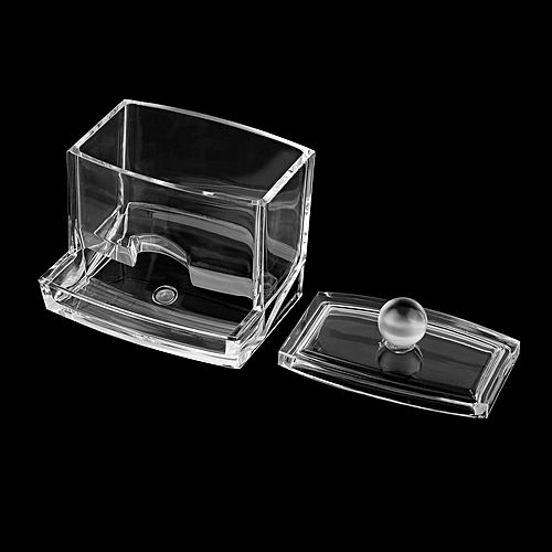 Clear Acrylic Cotton Swab Organizer Box Cosmetic Holder Q-tip Makeup Storage