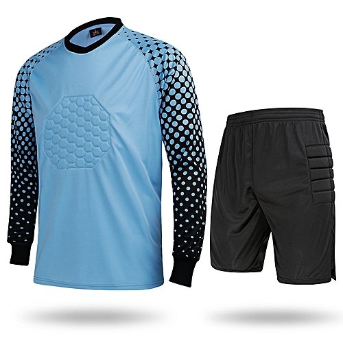 9a7d6ff5 Longo Hot Sale Men's Football Sports Goalkeeper Jersey Long Sleeves Shirts  With Shorts-Blue(SY11)