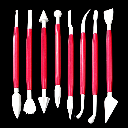 8Pcs Kit Sugarcraft Fondant Cake Decorating Modelling Tools Hot Pink