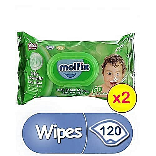Baby Wipes 60 Counts (×2) Total 120 Wipes For Your Baby