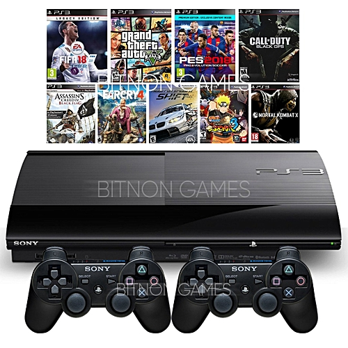 PS3 SuperSlim Console 500GB + 2 Controllers + FIFA 18 + PES 2018 + 12 Latest Game Titles Downloaded Inside