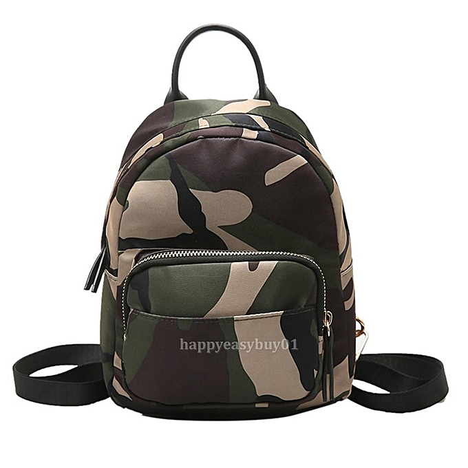 bbd4cdcfcc0b ... Women Mini Backpack Nylon Shoulder School Travel Bag Small Casual  Rucksack Tote Camouflage