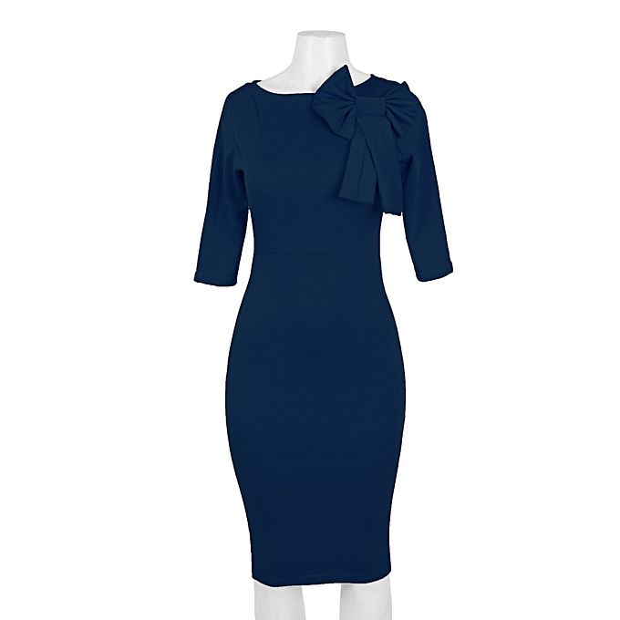 Buy 21 Attire Navy Blue Bodycon Dress With Bow Detail @ Best Price ...