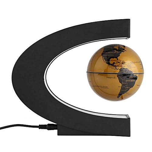 C Shape Magnetic Levitation Floating 3 Inches Globe World Map With LED Decor Light(US)