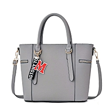 Large Capacity Handbag With Letter M Pendant Grey