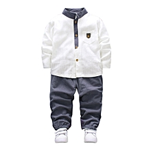 a93c9d84410d 2pcs Toddler Baby Boys Kids Shirt Tops+Long Pants Clothes Gentleman Outfits  Set- White