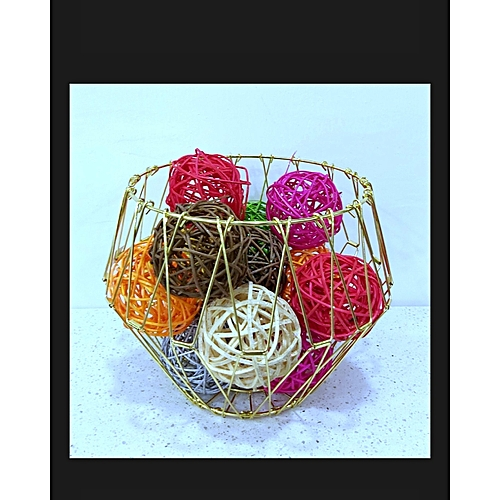Multicolored Ball With Gold Bow Table Decor