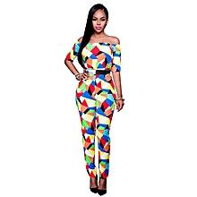 77c50c734e8 Women Geometry Print Off-shoulder Jumpsuit YM8058