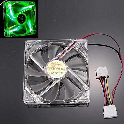 Muliawu Store Green Quad 4-LED Light Neon Clear 120mm PC Computer Case Cooling Fan Mod-Clear