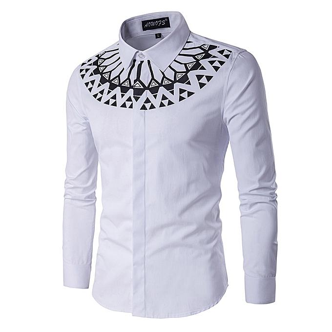 yingwoo new spring shirts men white fashion ethnic pattern long
