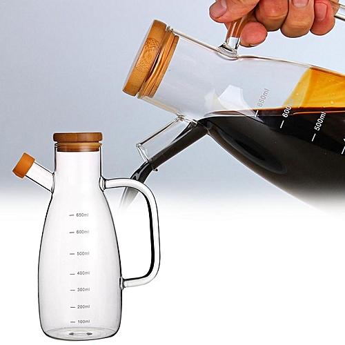 650ml Leak-Proof Borosilicate Glass Gravy Boats Bamboo Lid Kitchen Soy Sauce Dispenser Containers Oil Bottles Vinegar Cruet HLS