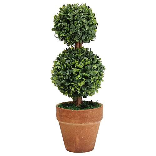 Plastic Garden Grass Ball Topiary Tree Pot Dried Green Plant For Wedding Party Double Balls