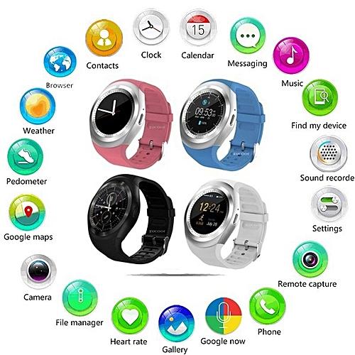 Colour :Black--Y1 Fashion Smartwatch Bluetooth Waterproof Smart Watch Reloj  Relogio 2G GSM SIM App Sync Mp3 For Apple IPhone Xiaomi Android Phones PK