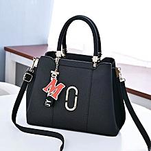 Large Clip Handbag With Pendant -Black